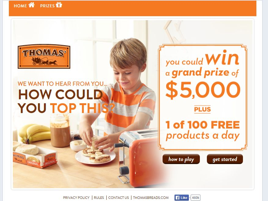 """Thomas' English Muffins and Bagels """"How Could You Top This?""""Promotion"""