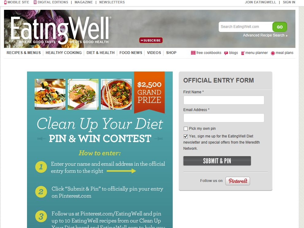 EatingWell Pin & Win Sweepstakes