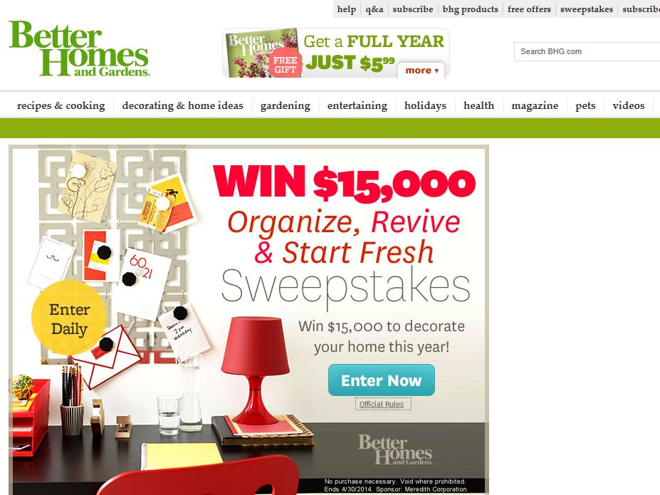 Better Homes And Gardens 15 000 Sweepstakes