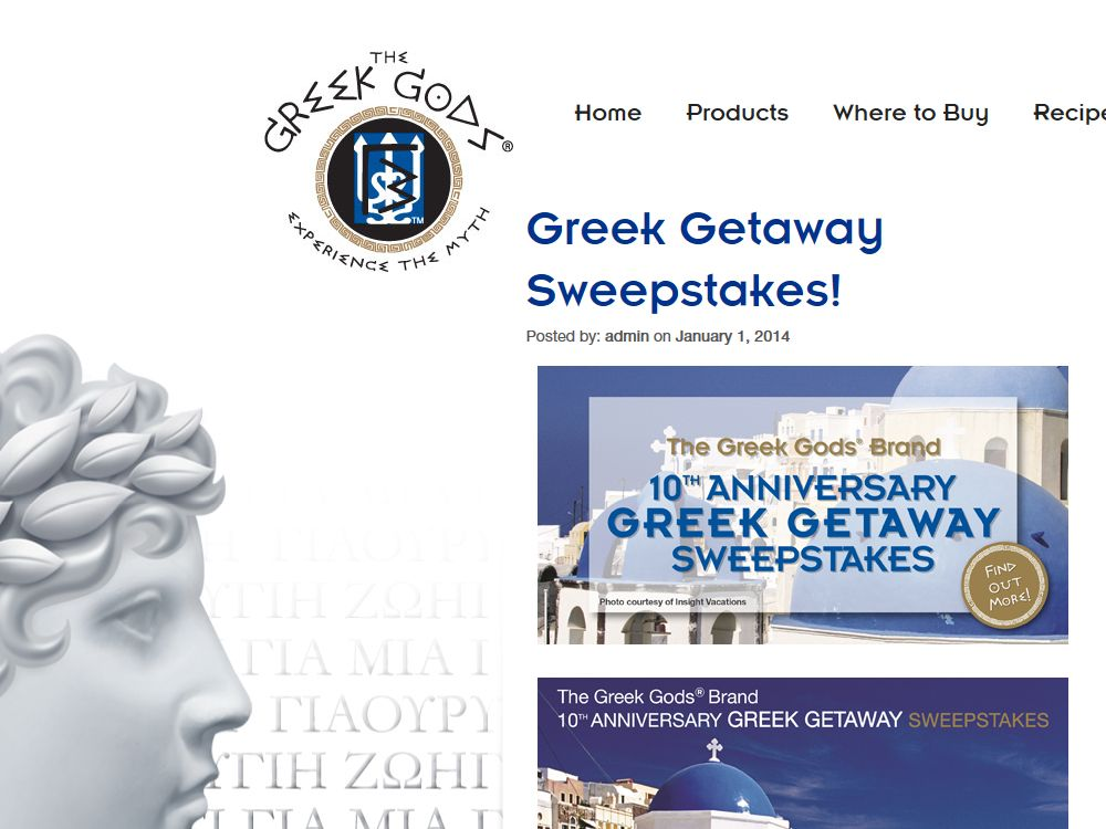 Greek Gods Brand 10th Anniversary Greek Getaway Sweepstakes