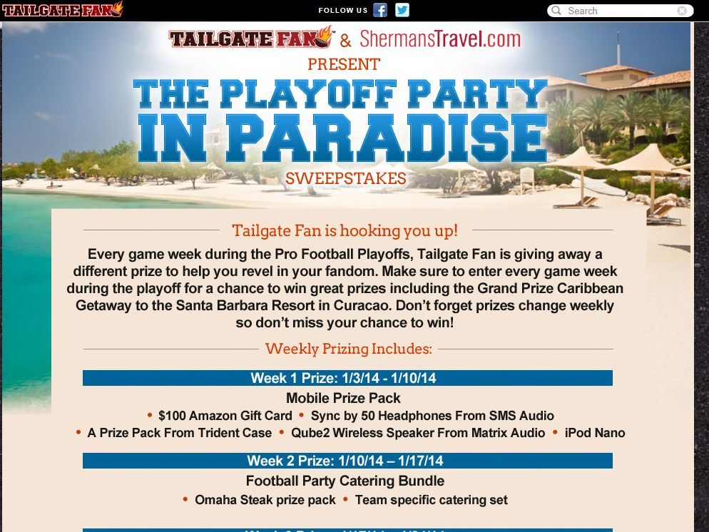 Tailgate Fan Pro Football Playoff Sweepstakes