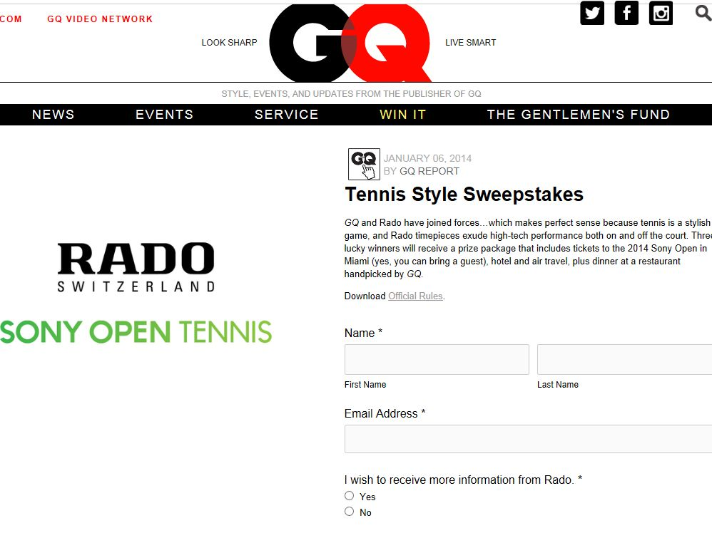 GQ Tennis Style Sweepstakes