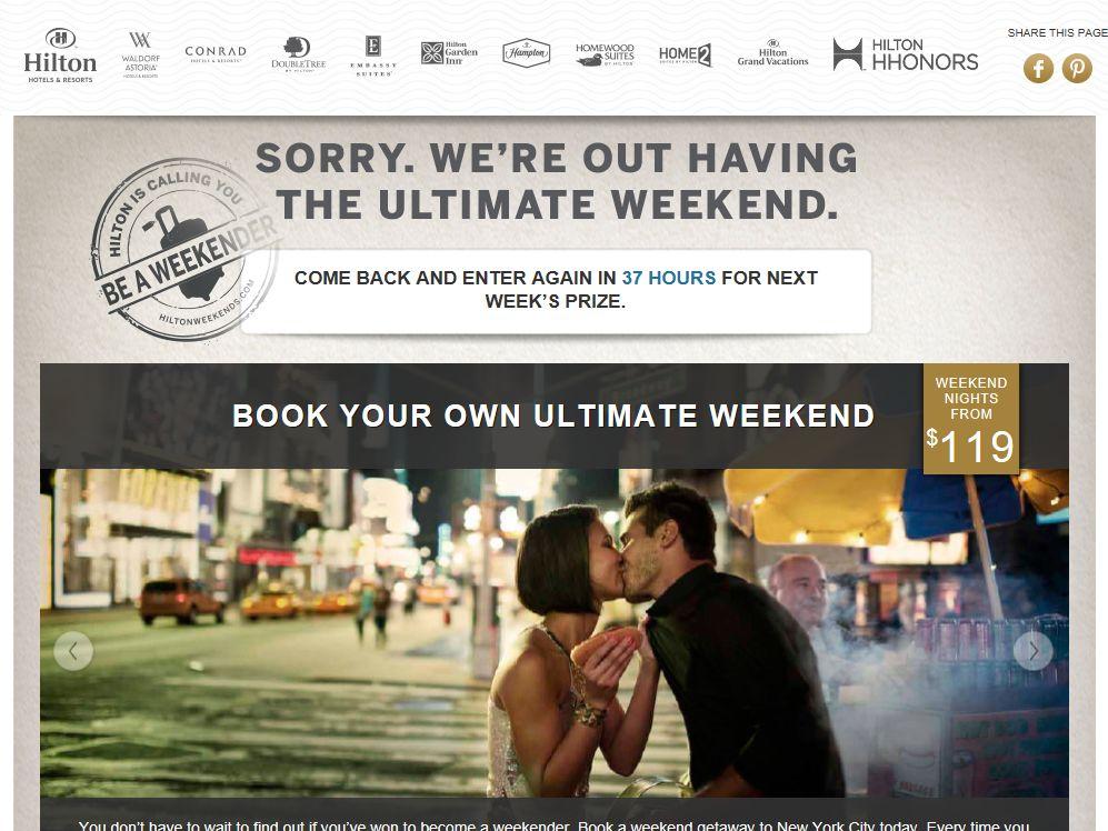 Hilton Ultimate Weekender Sweepstakes