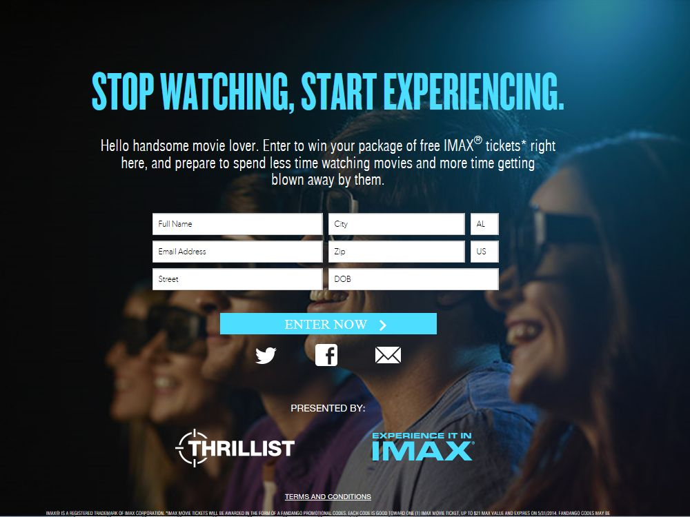 Thrillist.com Stop Watching, Start Experiencing Sweepstakes