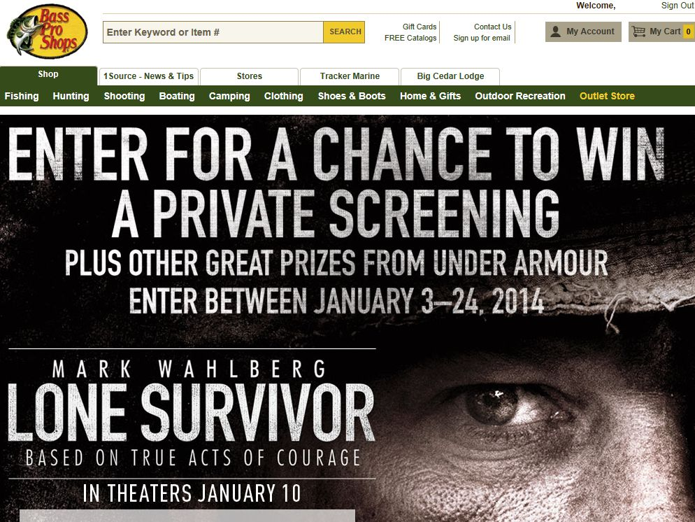 """Bass Pro Shops """"Lone Survivor"""" Sweepstakes"""