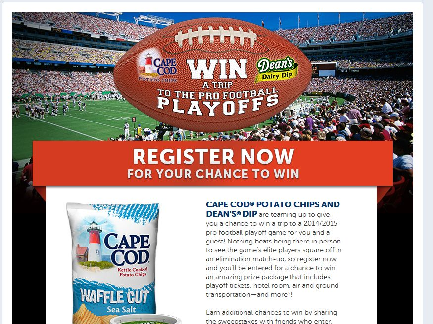 Cape Cod Potato Chips Pro Football Playoff Trip Sweepstakes