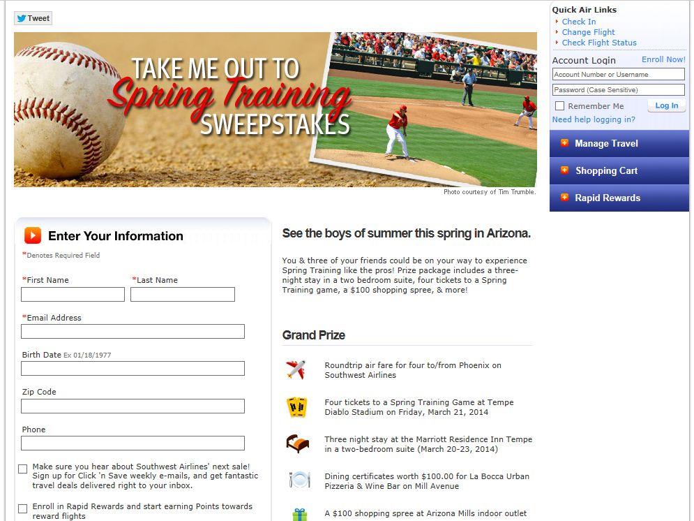 Southwest Spring Training Sweepstakes