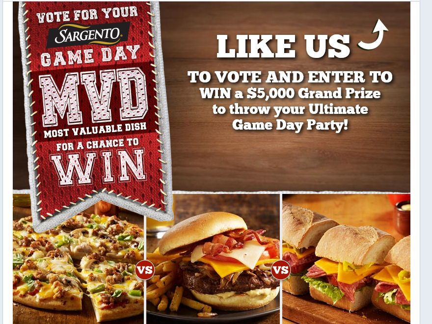 Sargento Most Valuable Dish Sweepstakes