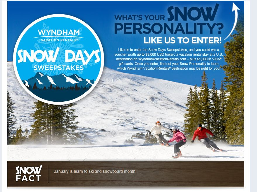 Wyndham Vacation Rentals Snow Days Sweepstakes