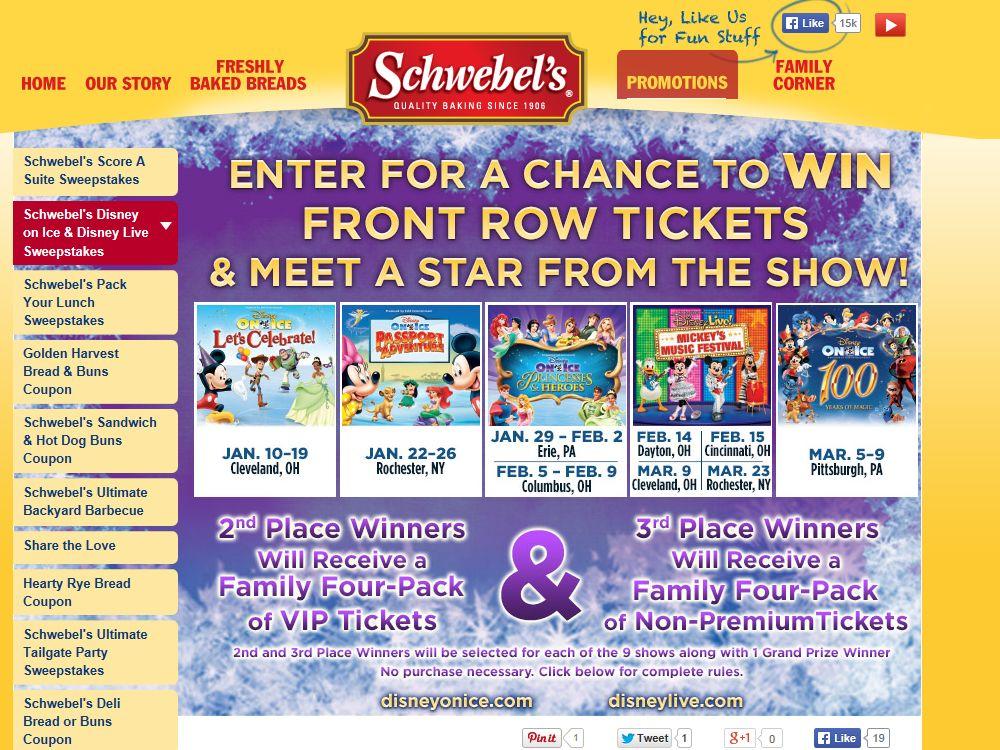 Schwebel Baking Company Disney On Ice & Disney Live! Sweepstakes