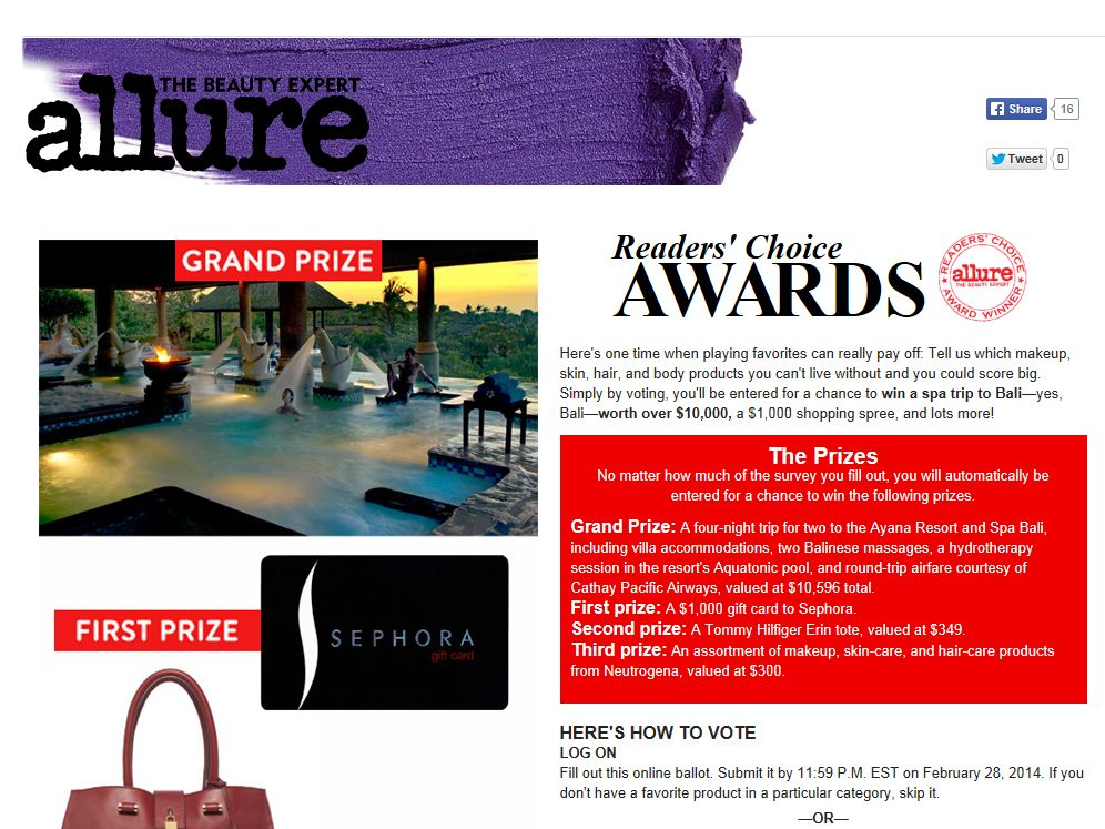 Allure Readers' Choice Awards Sweepstakes
