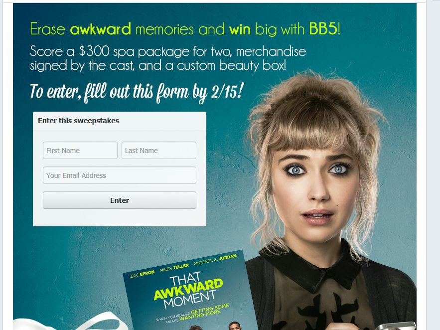 Beauty Box 5 and That Awkward Moment 2014 Sweepstakes