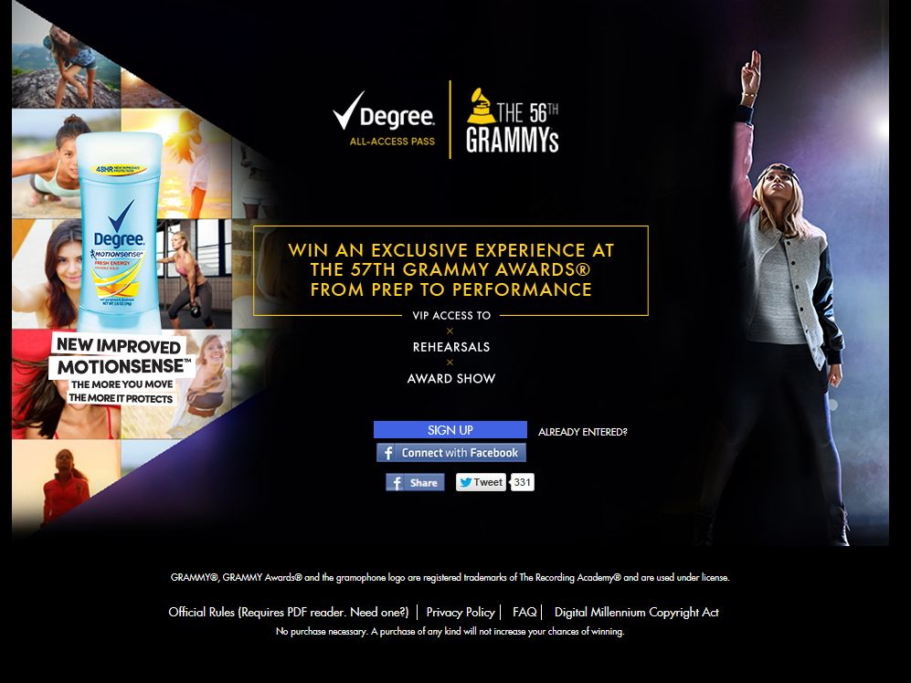 Degree GRAMMY's All-Access Pass Sweepstakes