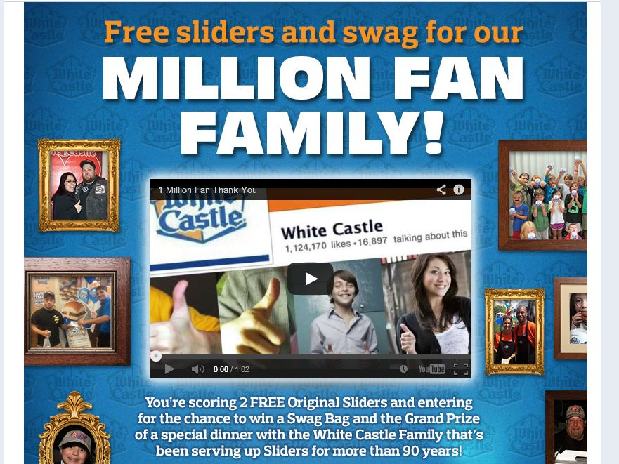White Castle One Million Fans Sweepstakes