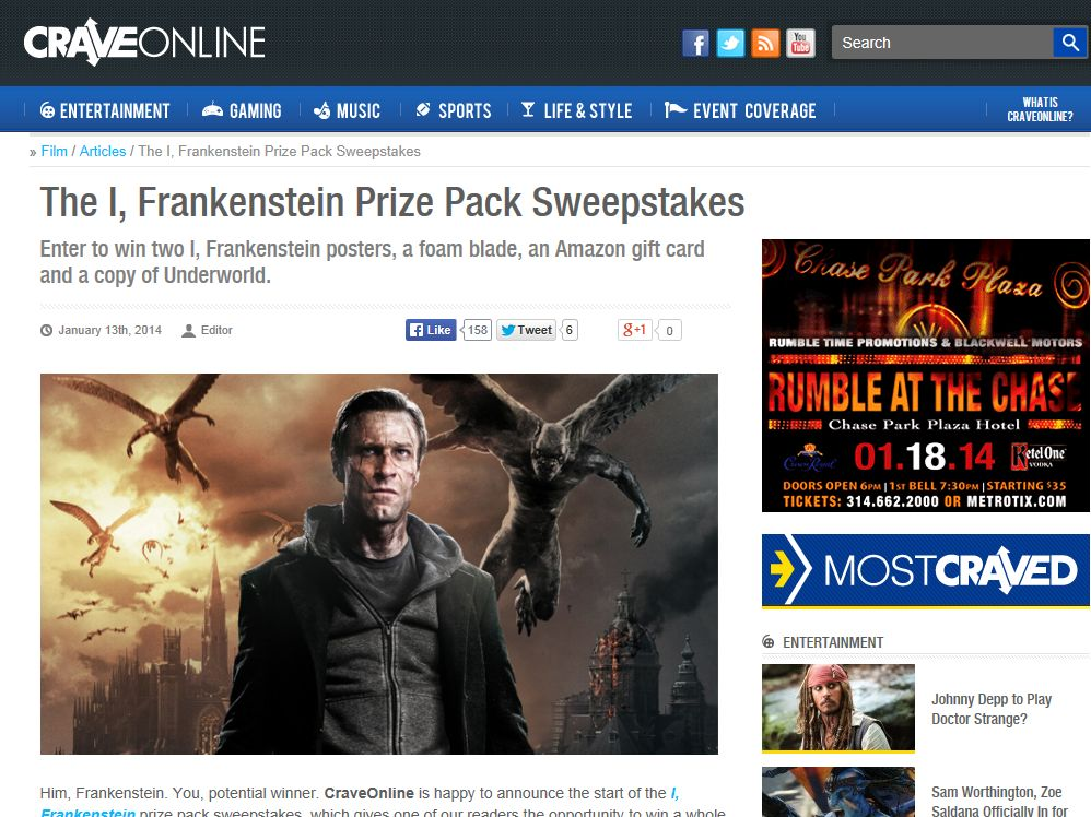 I, Frankenstein Prize Pack Sweepstakes