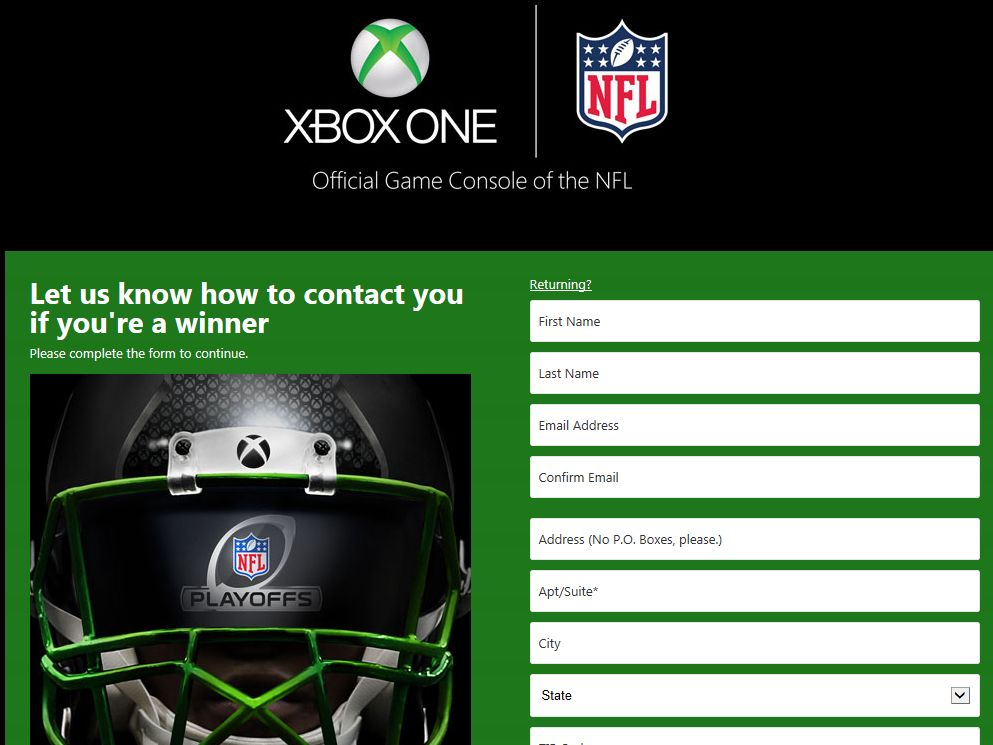 Xbox One Playoff Face Off Sweepstakes