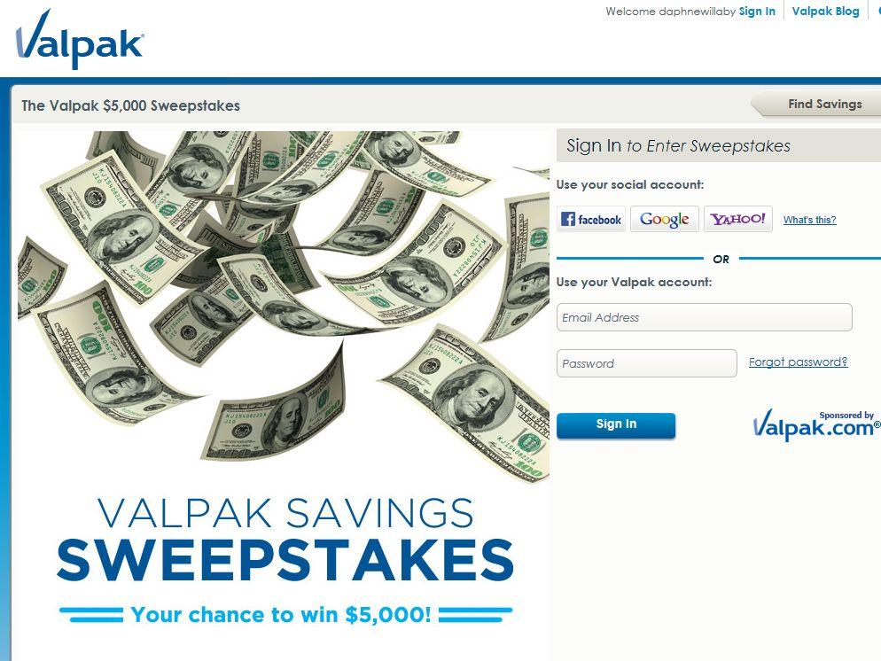 Valpak $5,000 Sweepstakes