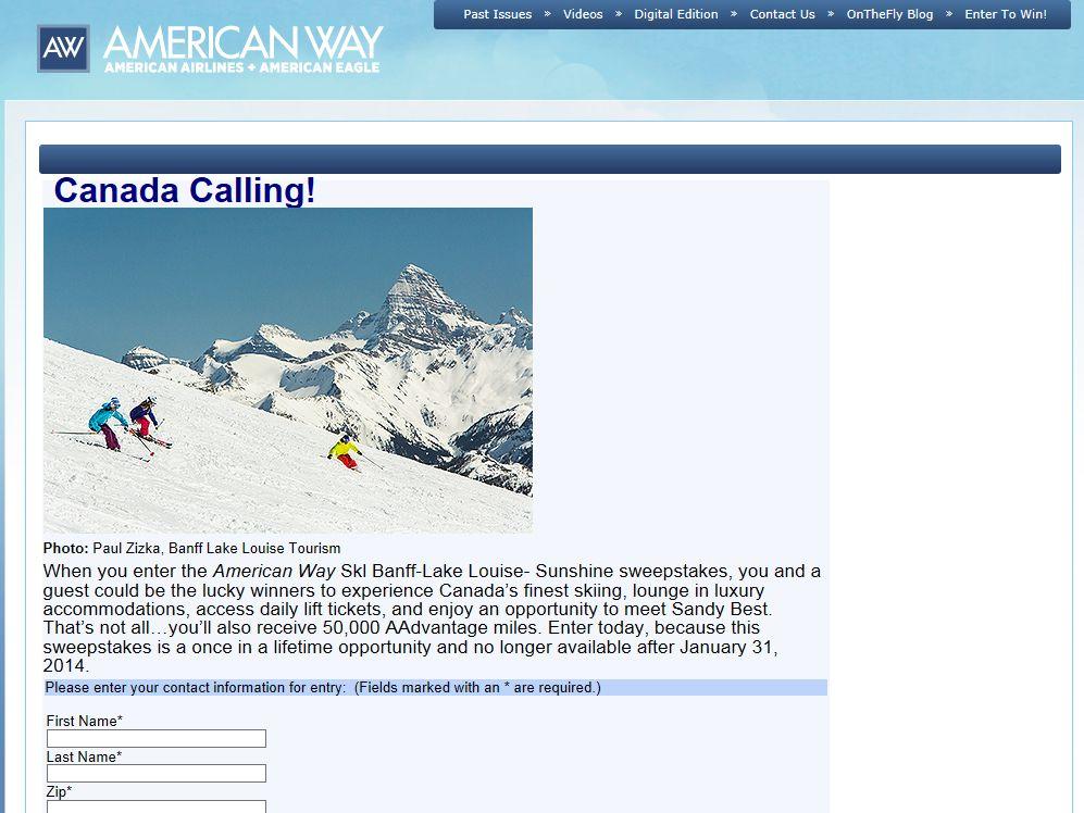 American Way Skl Banff-Lake Louise- Sunshine Sweepstakes