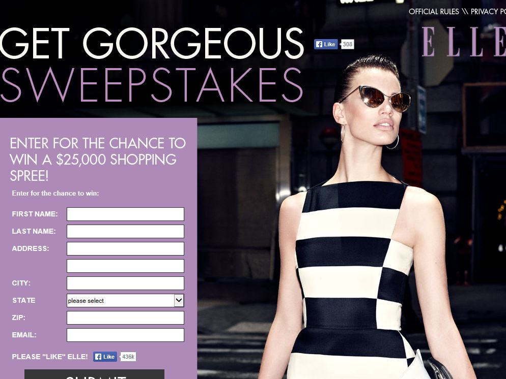 ELLE $25,000 Life Save Sweepstakes