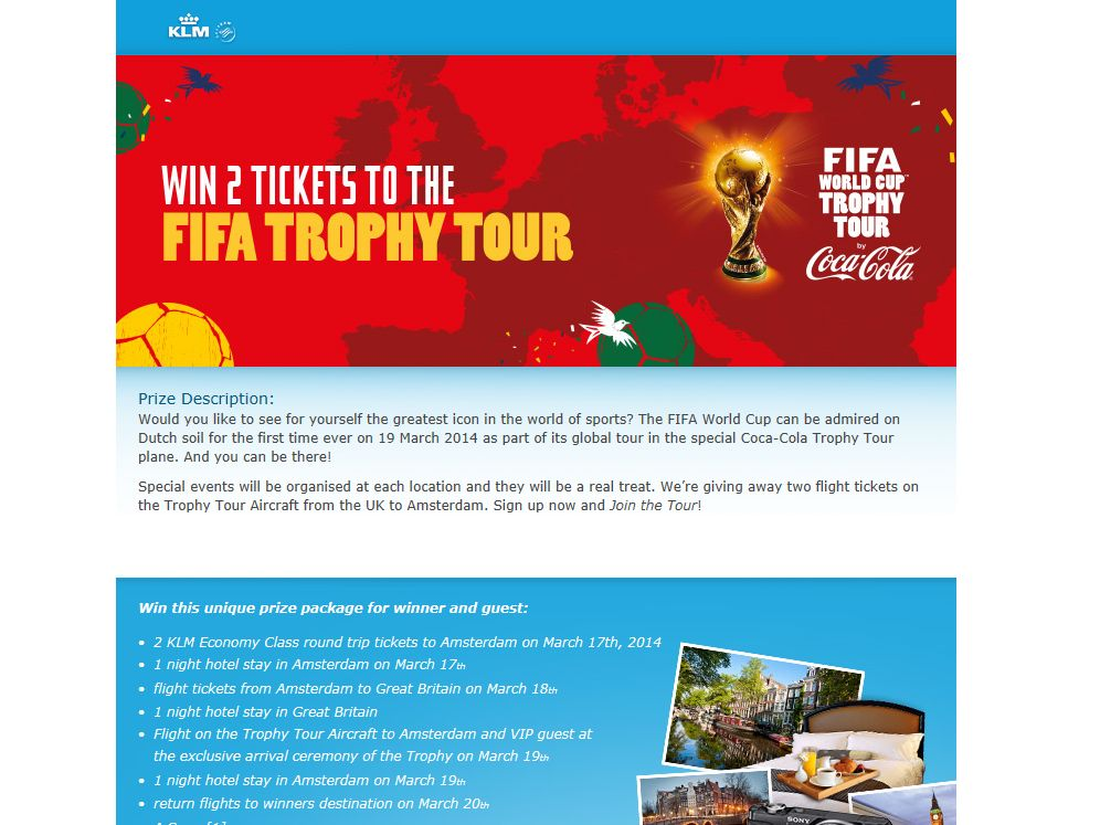 KLM FIFA Trophy Tour Sweepstakes