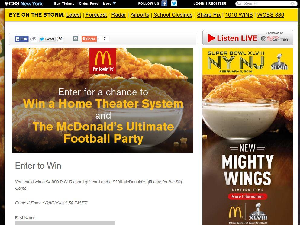 MCDONALDS Ultimate Football Party Contest – Select States