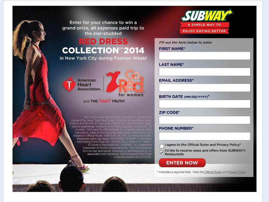 SUBWAY Fashion Show Sweepstakes