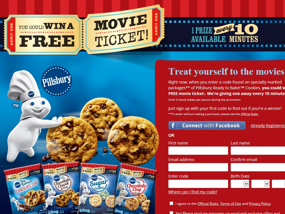 Pillsbury Ready to Bake! Cookies Movie Ticket Instant Win Game