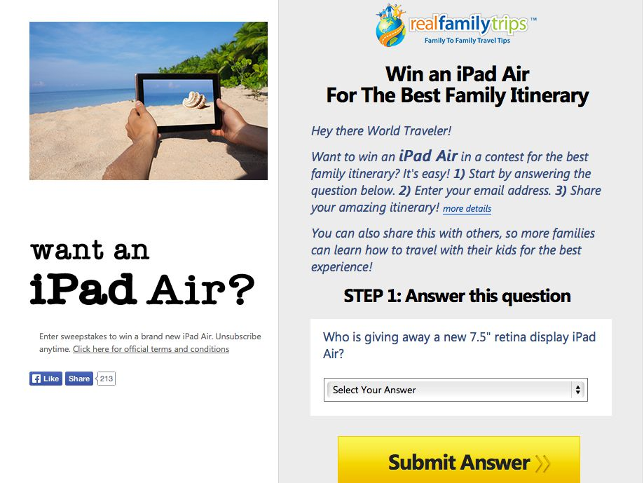 Win an iPad from Real Family Trips