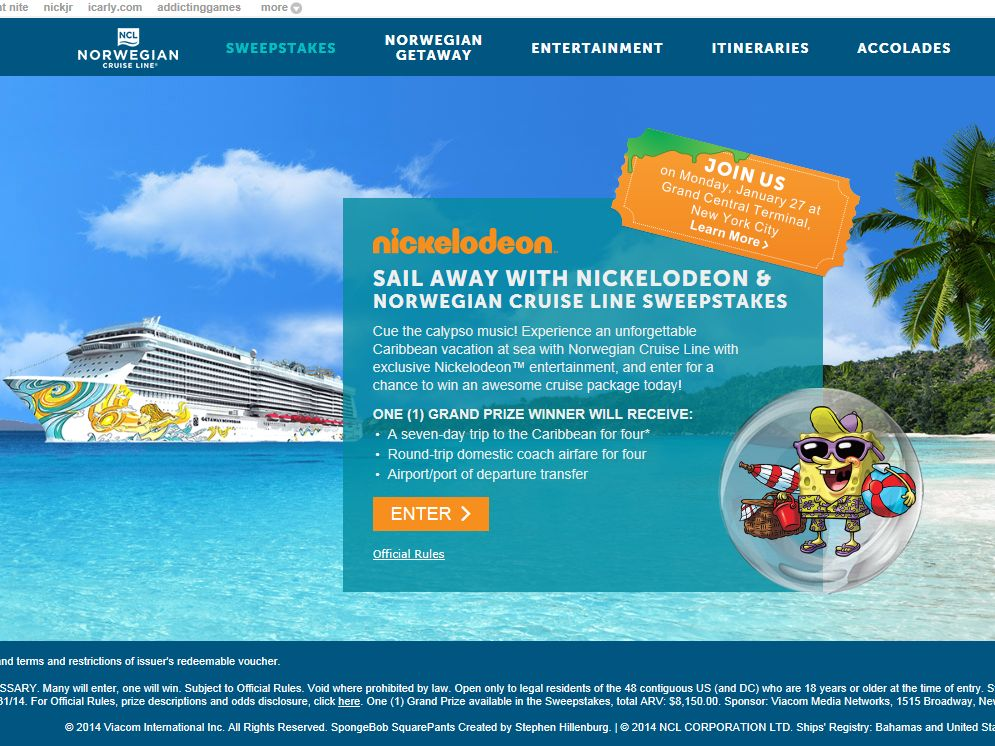 Sail Away With Nickelodeon & Norwegian Cruise Line Sweepstakes