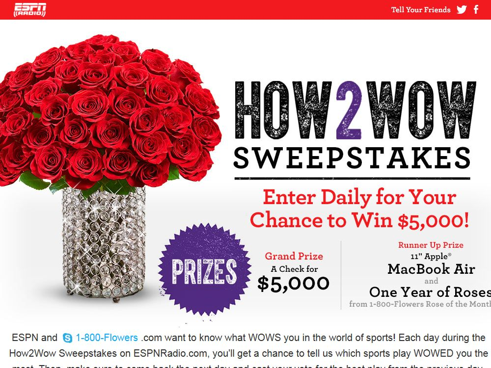 1-800-Flowers.com WOW Moment of the Day Sweepstakes