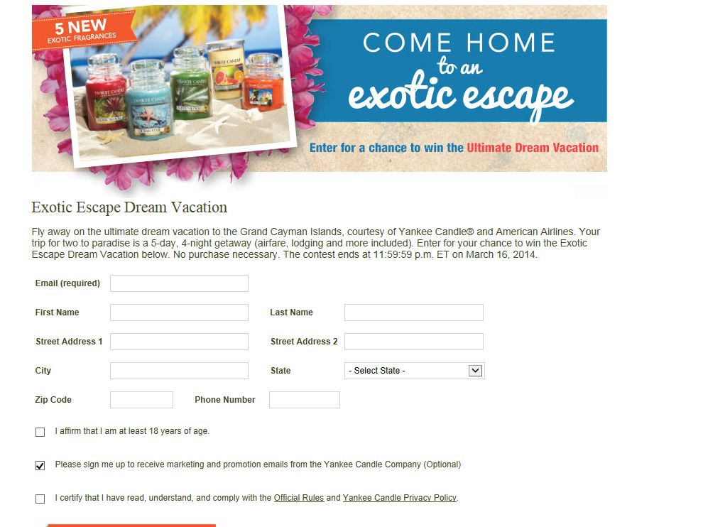 Yankee Candles Exotic Escapes Dream Vacation Sweepstakes