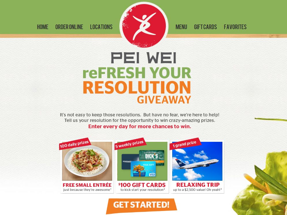 Pei Wei Refresh Your Resolution Giveaway