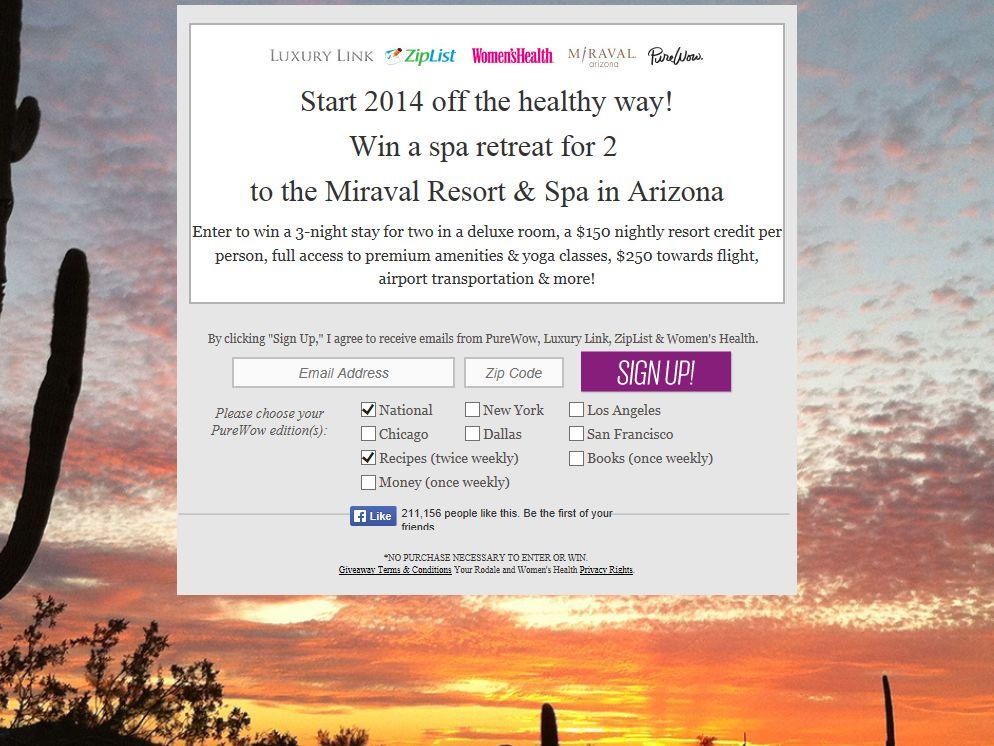 PureWow 2014 Arizona Getaway Giveaway