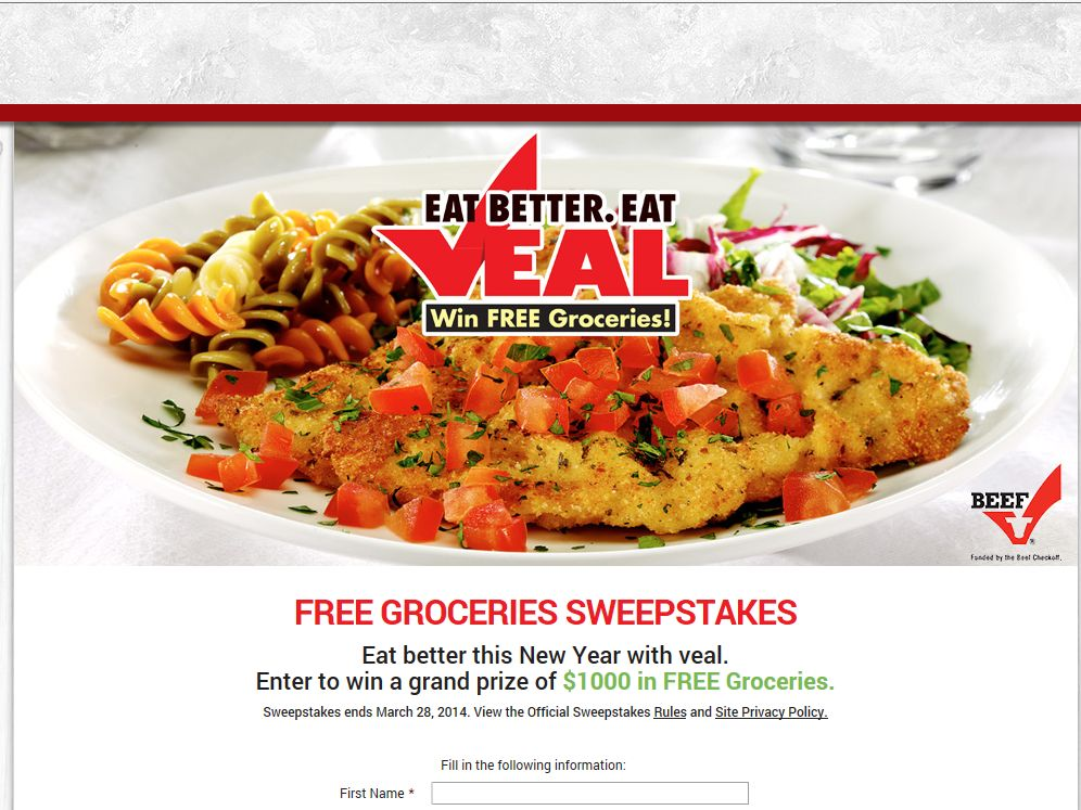 Eat Better. Eat Veal. – Win Free Groceries Sweepstakes