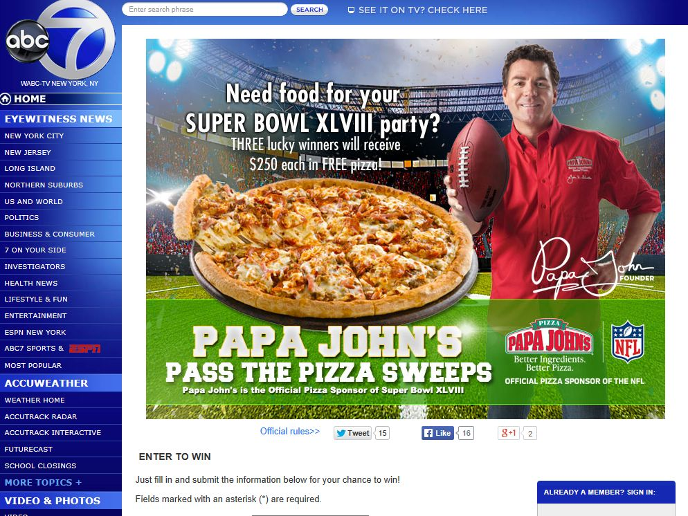 """ABC-7's """"Pass the Pizza"""" Sweepstakes – Select States Only"""