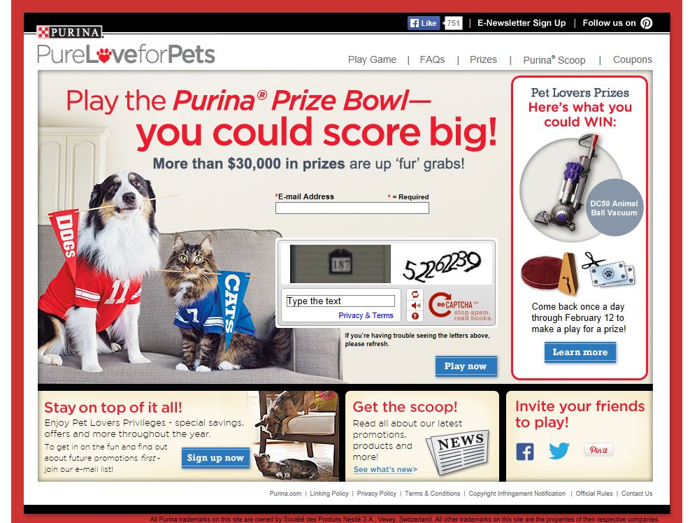 Purina Prize Bowl Instant Win Game