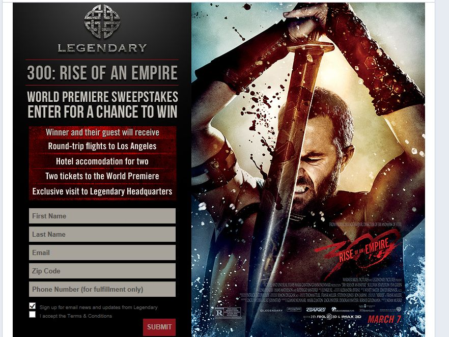 Legendary 300: Rise of an Empire Premiere Sweepstakes