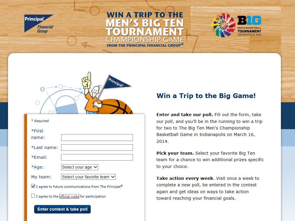 Principal Financial Group Big Ten 2014 Championship Basketball Game Trip Giveaway