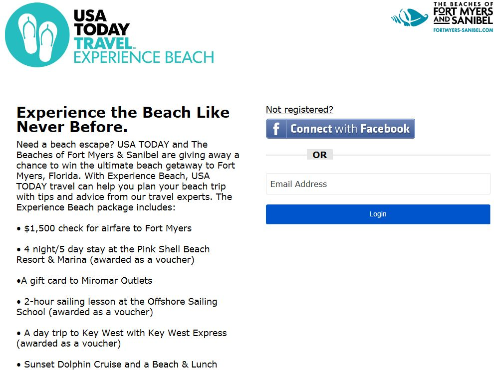 USA TODAY Experience Beach Sweepstakes