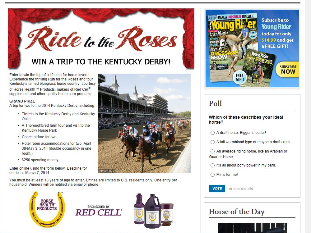 HorseChannel.com Ride for the Roses Sweepstakes