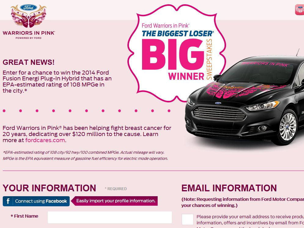 Ford Warriors in Pink & The Biggest Loser Biggest Loser Big Winner Sweepstakes