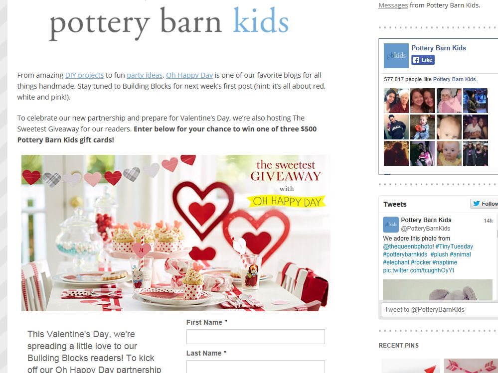 Pottery Barn Kids the Sweetest Giveaway