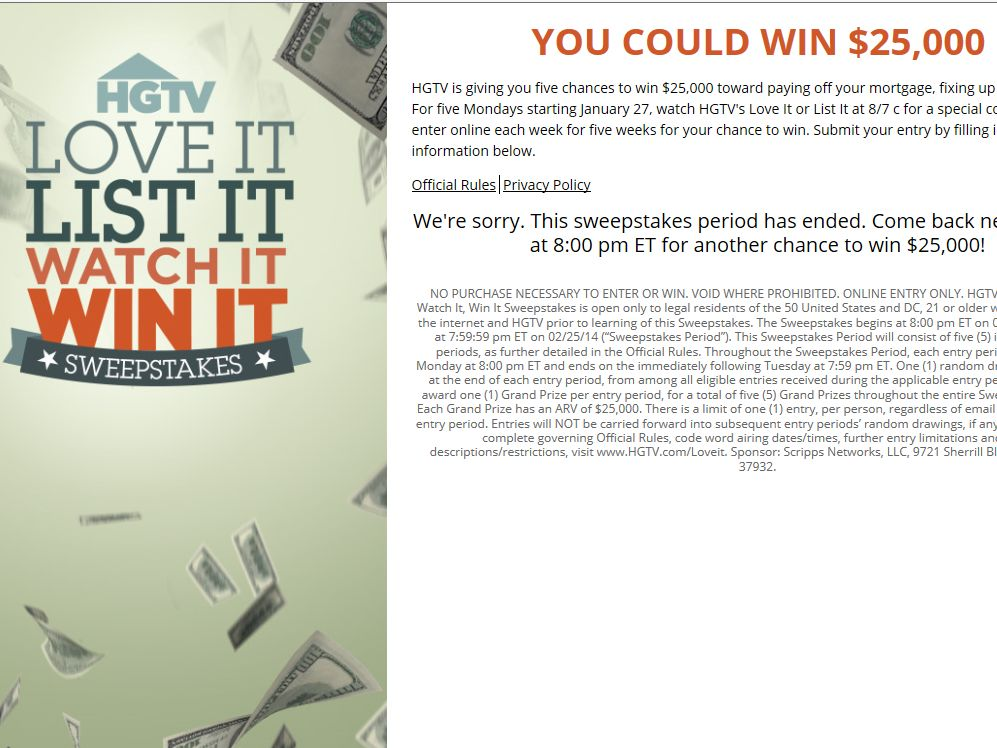 Watch it win it sweepstakes hgtv