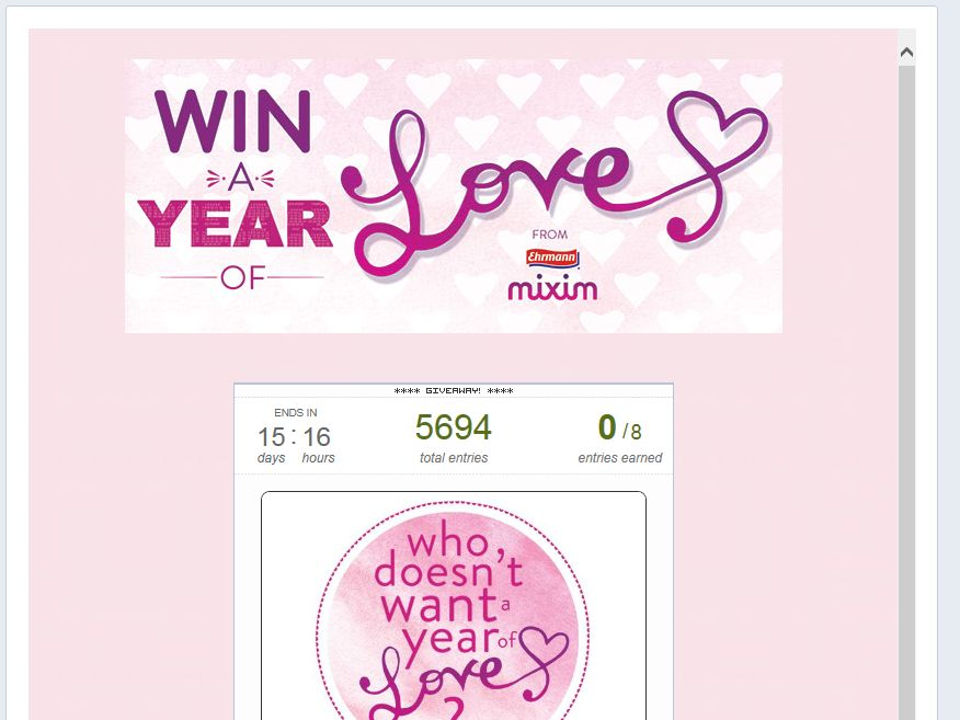 Ehrmann MIXIM Year of Love Sweepstakes