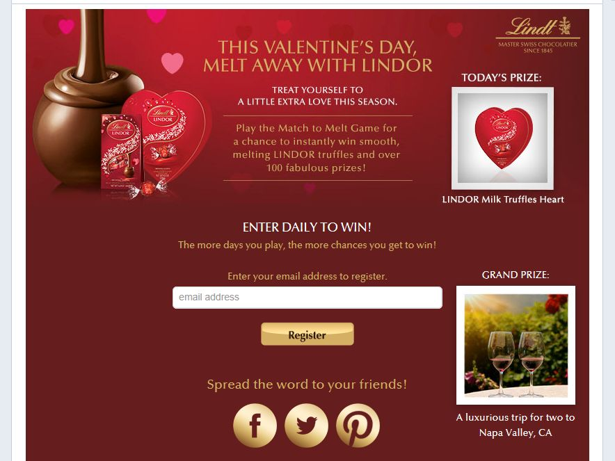 Lindt Chocolate Melt Away This Valentine's Day Sweepstakes