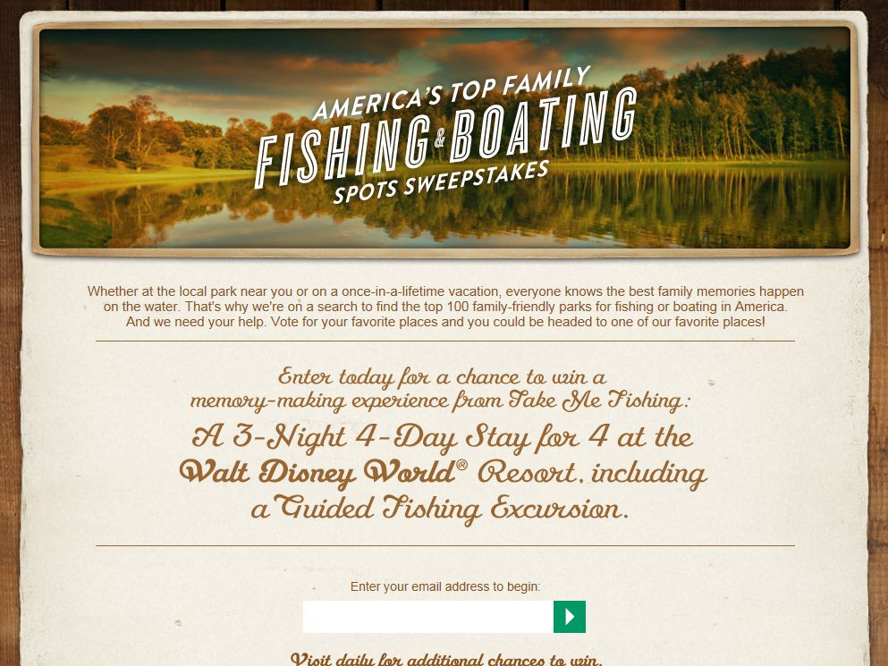 America's Top Family Fishing & Boating Spots Sweepstakes