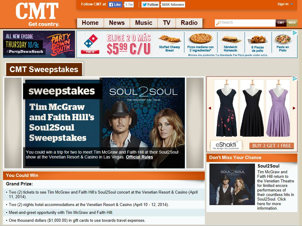 Tim McGraw and Faith Hill's Soul2Soul Sweepstakes