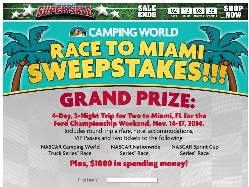 """Camping World's 2014 """"RACE TO MIAMI"""" Sweepstakes"""