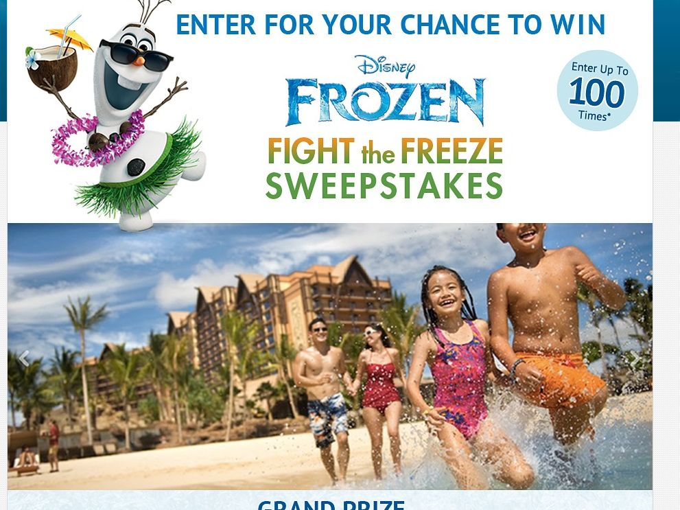 Disney Frozen Fight The Freeze Sweepstakes