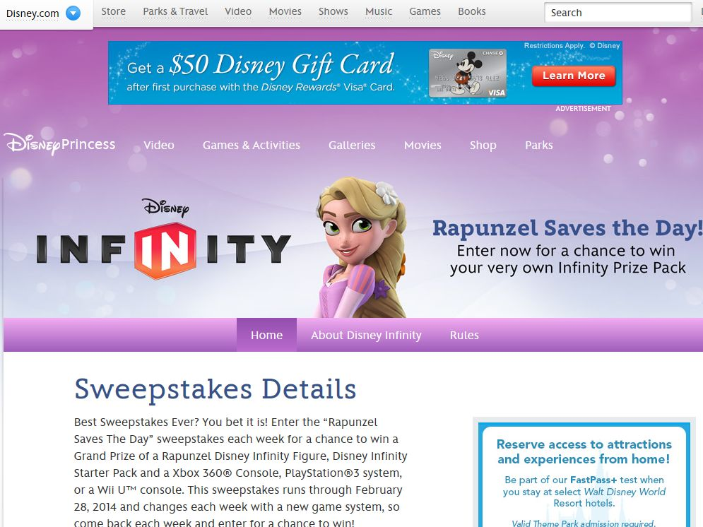 Disney.com Rapunzel Saves The Day Sweepstakes